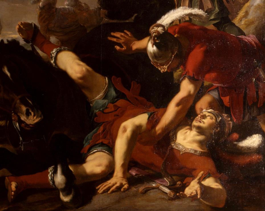 Peinture de la conversion de saint Paul par Laurent de la Hyre, gros plan sur saint Paul