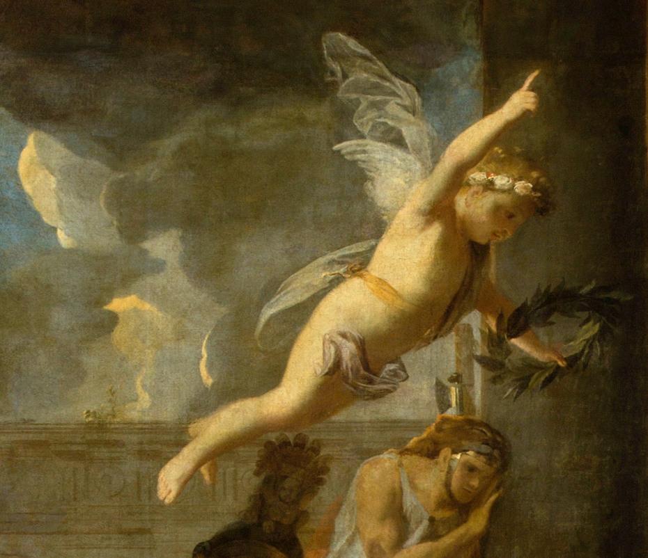 Peinture du crucifiement de saint André par Charles le Brun, gros plan sur un ange