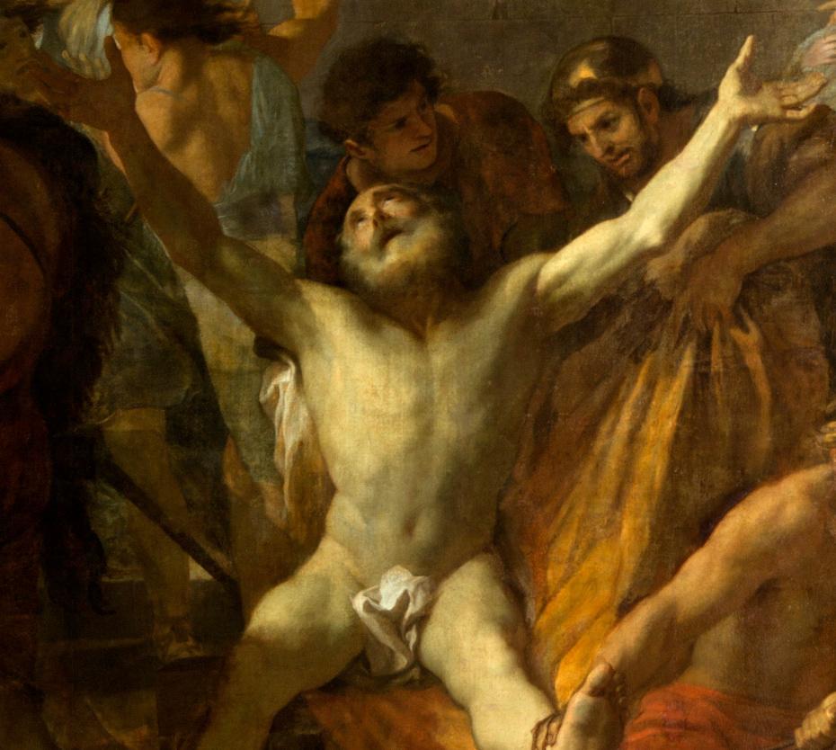 Peinture du crucifiement de saint André par Charles le Brun, gros plan sur saint André