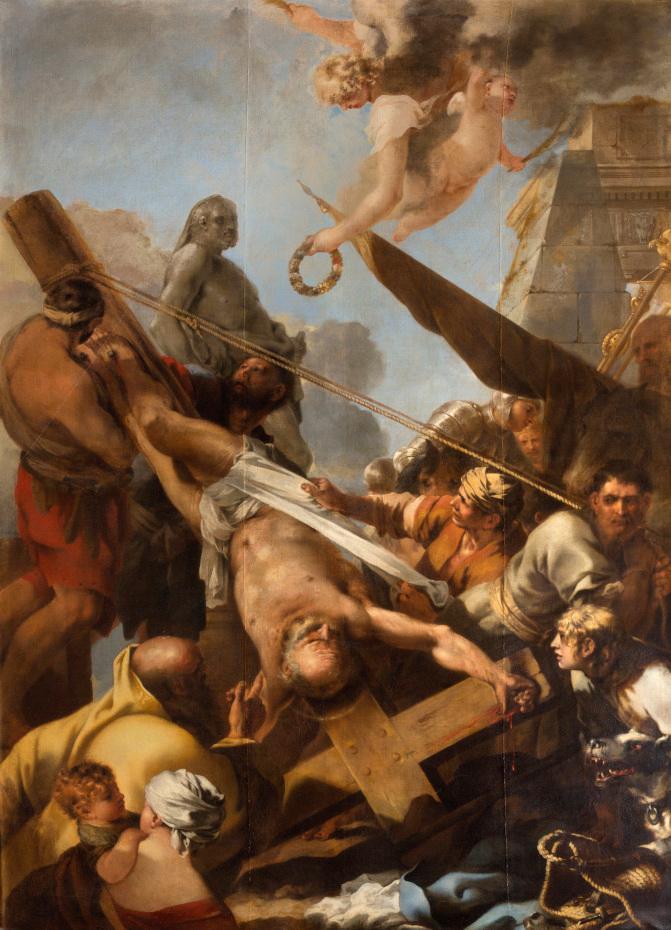 Peinture du crucifiement de saint Pierre par Sébastien Bourdon