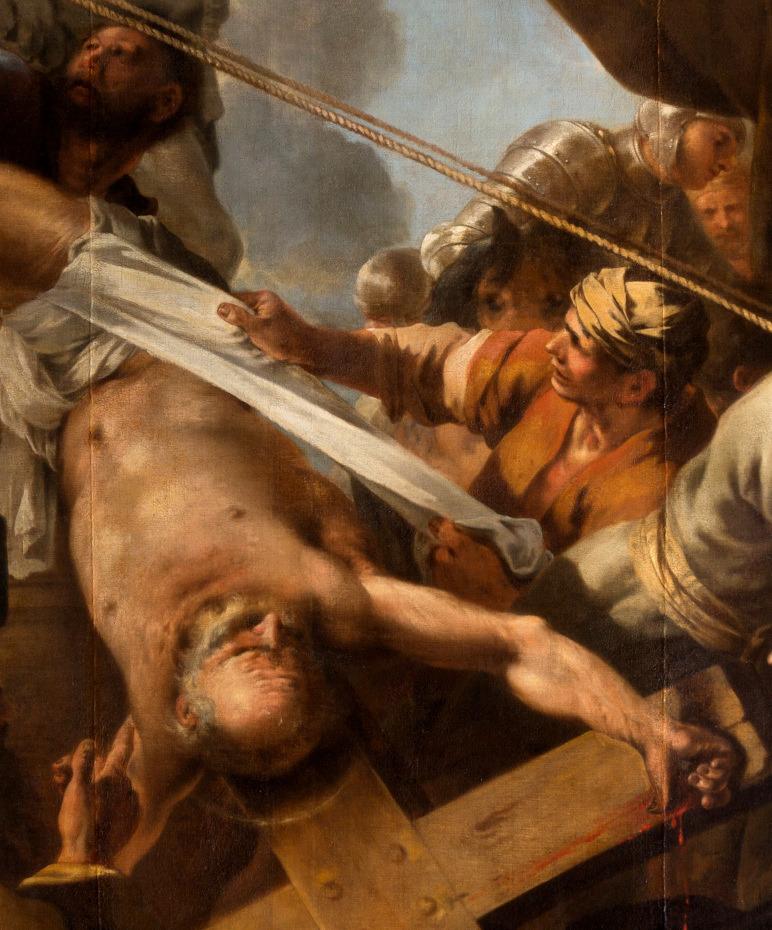 Peinture du crucifiement de saint Pierre par Sébastien Bourdon, gros plan sur saint Pierre