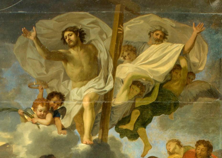 Peinture de la lapidation de saint Etienne par Charles le Brun, gros plan sur les anges