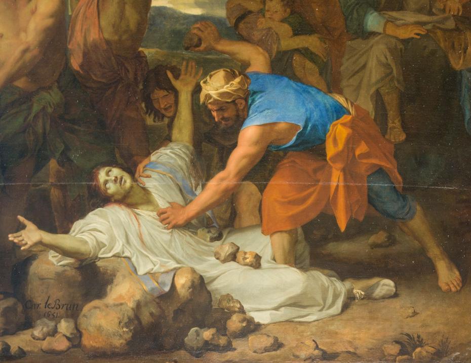 Peinture de la lapidation de saint Etienne par Charles le Brun, gros plan sur saint Etienne