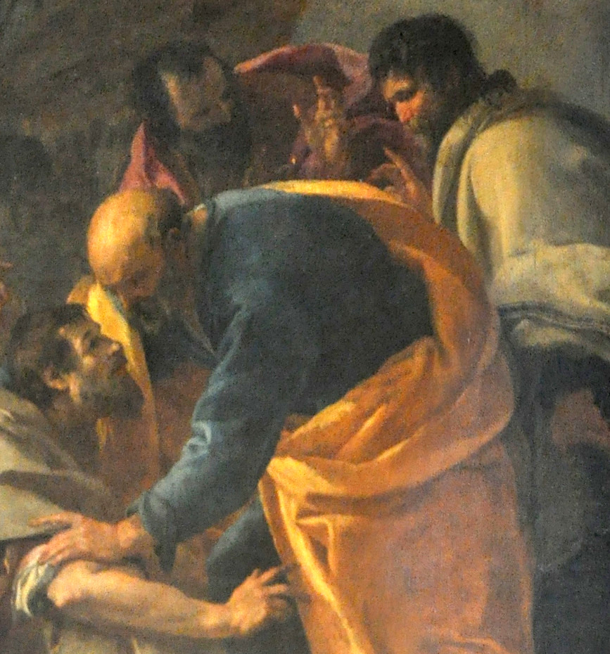 Détails de la peinture du Centurion Corneille aux pieds de saint Pierre par Aubin Vouet
