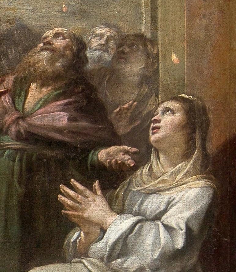 Détails de la peinture de la descente du Saint-Esprit par Jacques Blanchard