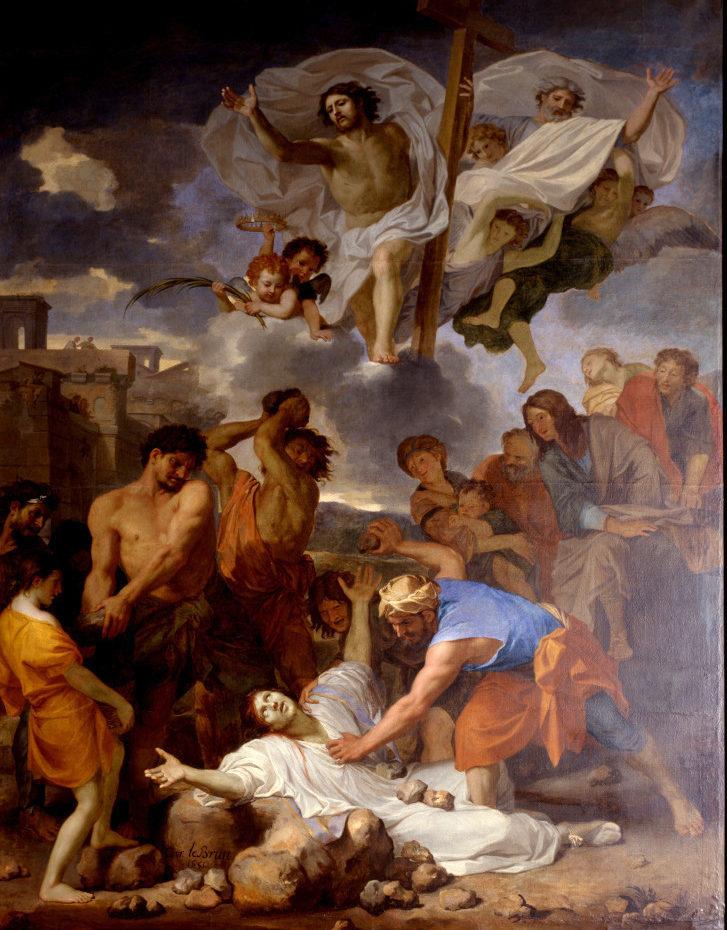 Peinture de la lapidation de saint Etienne par Charles le Brun
