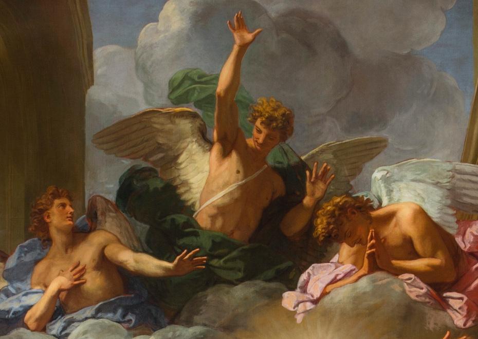 Peinture de la visitation par Jean Jouvenet, gros plan sur un groupe d'anges