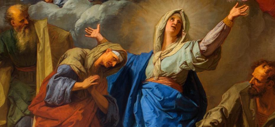 Peinture de la visitation par Jean Jouvenet, gros plan sur la Vierge