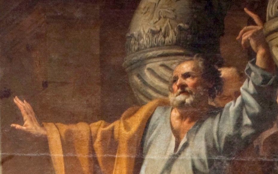Peinture de la prédication de saint Pierre à Jérusalem par Charles Poërson, gros plan sur saint Pierre