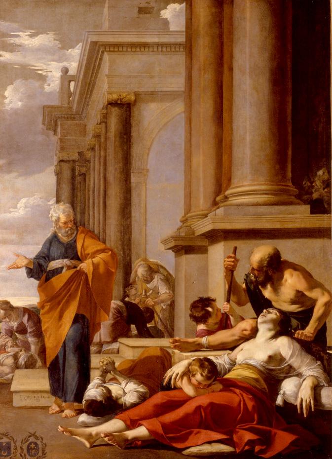 Peinture de saint Pierre guérissant les malades de son ombre par Laurent de la Hyre