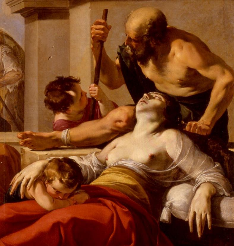 Peinture de saint Pierre guérissant les malades par Laurent de la Hyre, gros plan sur l'enfant pleurant le décès de sa mère