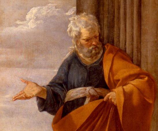 Peinture de saint Pierre guérissant les malades par Laurent de la Hyre, gros plan sur saint Pierre