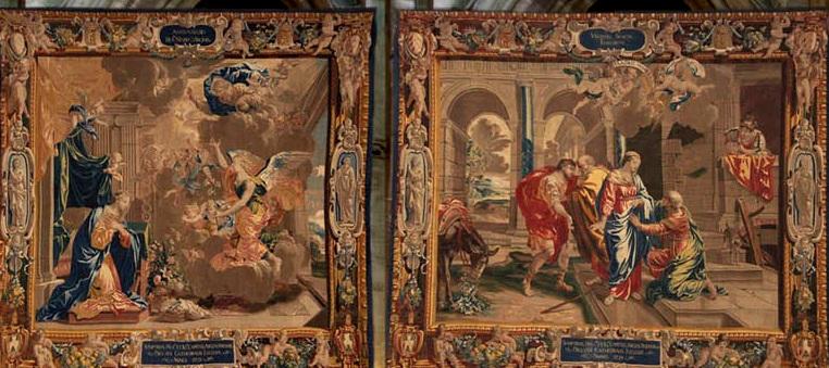 Détails des tapisseries de la Nef représentant des scènes de l'histoire chrétienne
