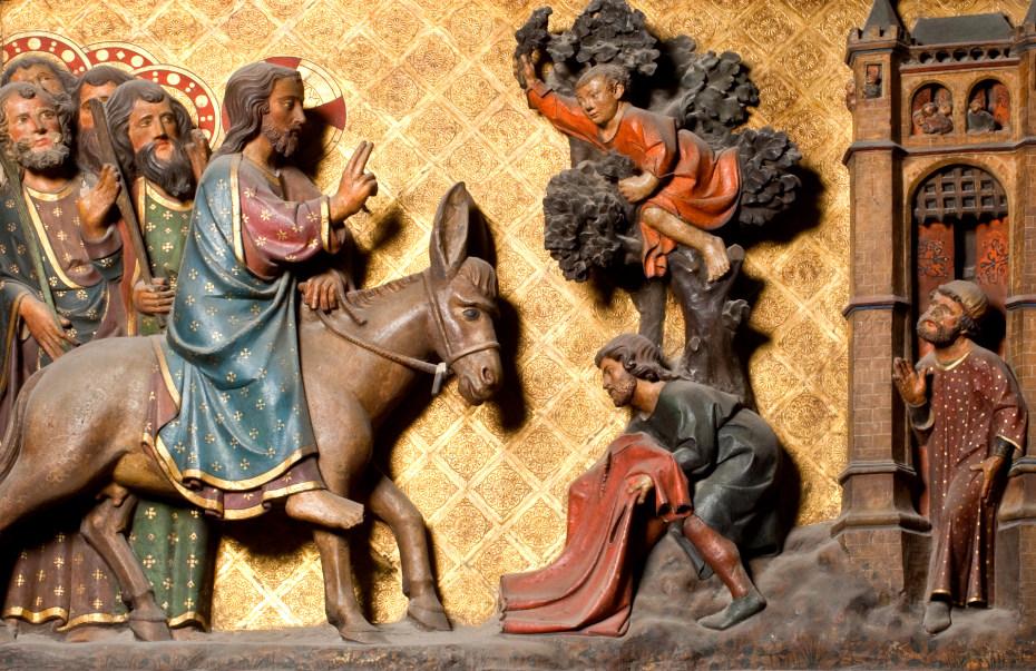 Gravures du tour de choeur, les rois mages arrivant à dos d'âne