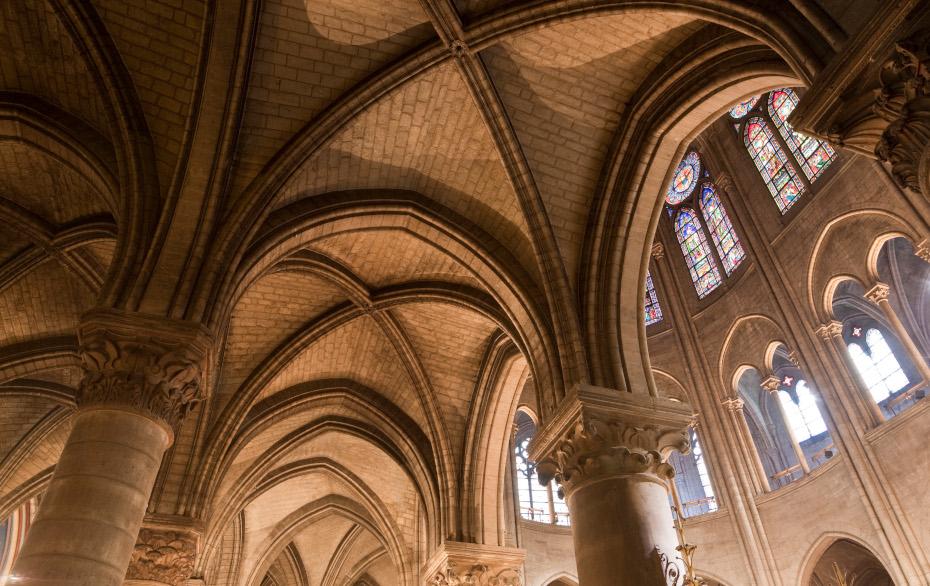 Vue des plafonds depuis l'intérieur de la cathédrale