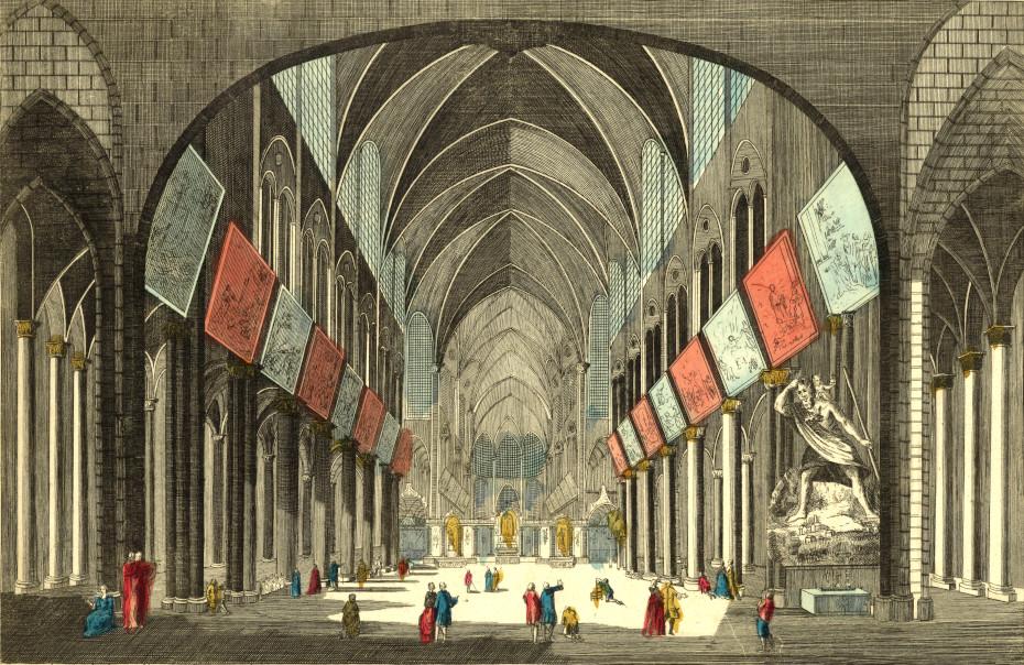 Gravure représentant les grands Mays à l'intérieur de Notre-Dame