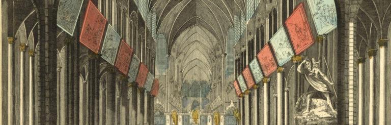 Gravure représentant les grands Mays à l'intérieur de Notre-Dame, bandeau