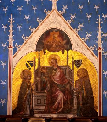 Fresque de la Vierge accueillant l'âme de Simon Matifas de Bucy, entourée de saint Denis et saint Nicaise