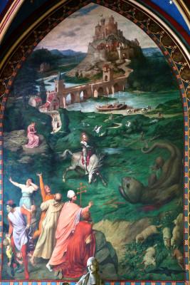 Peinture de la Fresque de saint Georges terrassant le dragon par Louis Steinheil