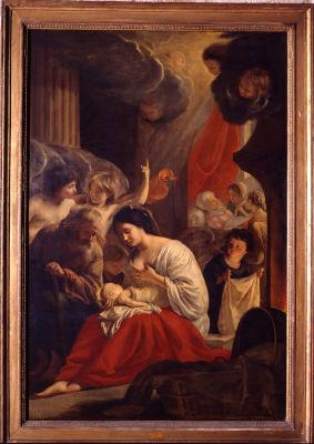 Peinture de La nativité de la Vierge par Matthieu Le Nain