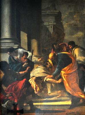 Peinture du Centurion Corneille aux pieds de saint Pierre par Aubin Vouet