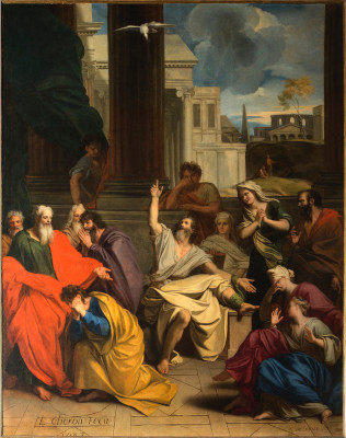 Peinture de la prédication d'Agabus à saint Paul par Louis Chéron