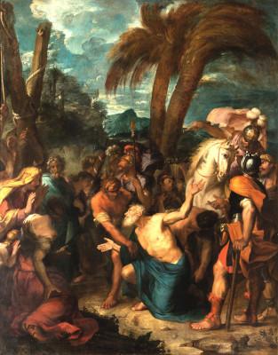 Peinture de saint André tressaillant de joie à la vue de son supplice par Gabriel Blanchard le Neuveu