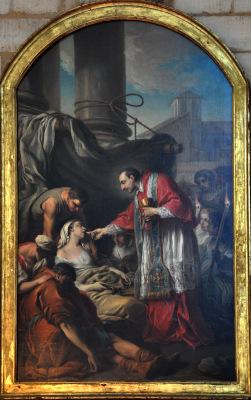 Peinture de saint Charles Borromée donnant la communion aux pestiférés par Carle Van Loo