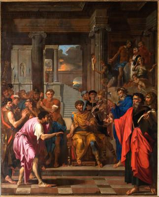 Peinture de saint Paul aveugle le faux prophète Bar-Jésus et convertit le proconsul Sergius par Nicolas Loir