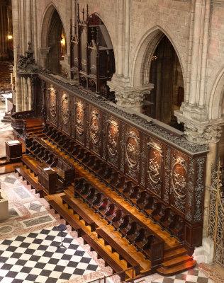 Les stalles de la cathédrale vues du dessus