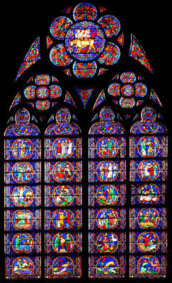 Vitrail de la vie de saint Eustache, reconnaissable grâce à la biche sur la dernière ligne de carreaux